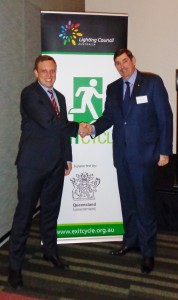 The Hon Dr Steven Miles MP, Minister for Environment and Heritage Protection with Mr Russell Loane OAM, Chairman, Lighting Council Australia 1